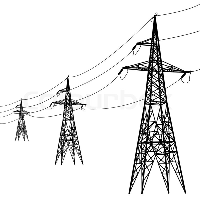 Line Art Resolution : Silhouette of high voltage power lines stock vector