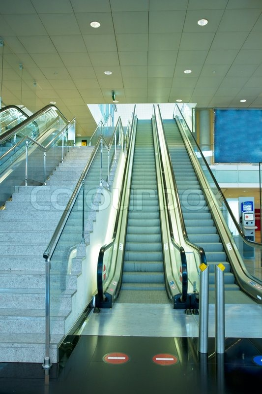 Metal And Glass Escalator And Stairs Stock Photo Colourbox