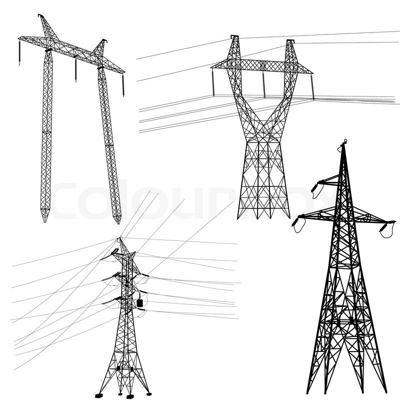 Set Silhouette Of High Voltage Power Lines Stock Vector