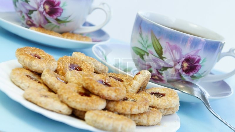 Tea time with cookies, stock photo