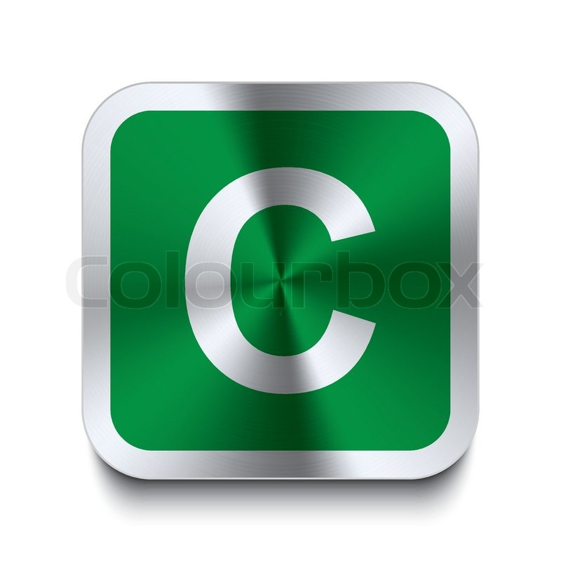 Square metal button - green letter - c | Stock Vector ...