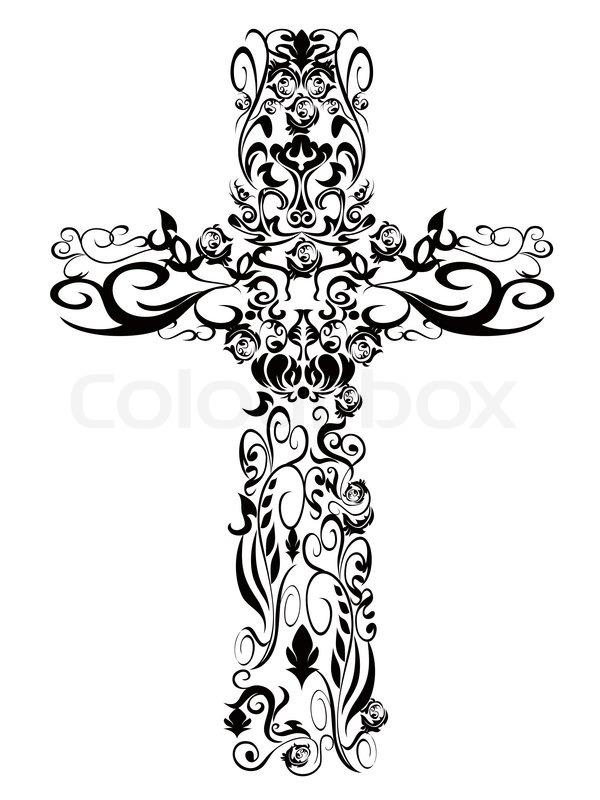 Christian pattern cross decoration design stock vector for Elegant cross tattoo designs