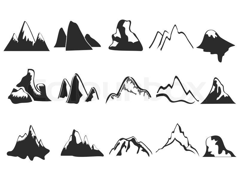 Line Art Picsart : Satz von berg symbole vektorgrafik colourbox