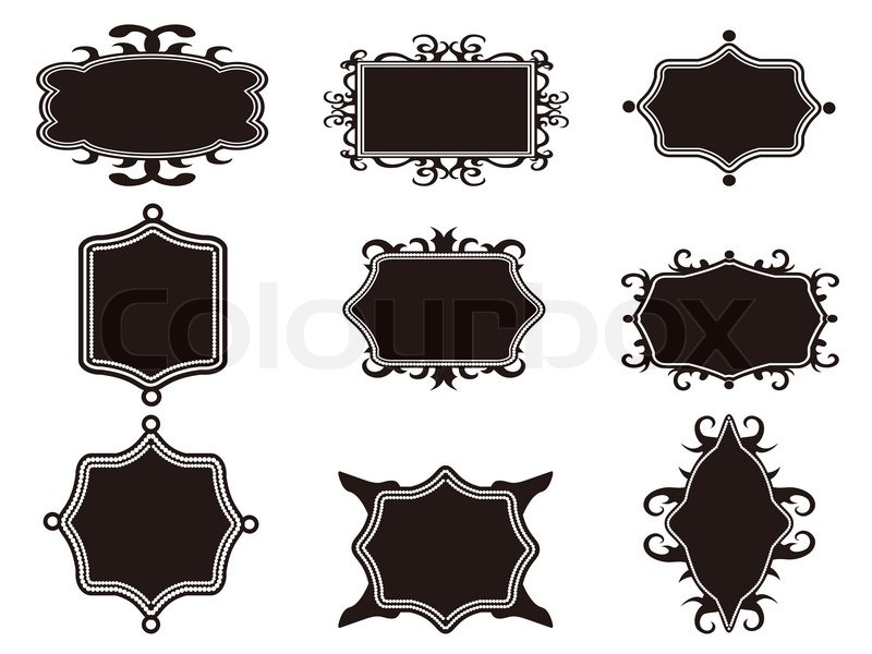Set of black retro frame | Stock Vector | Colourbox