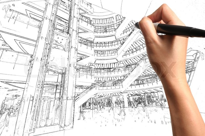 male hand draw building interior design stock photo colourbox - Interior Design Drawings