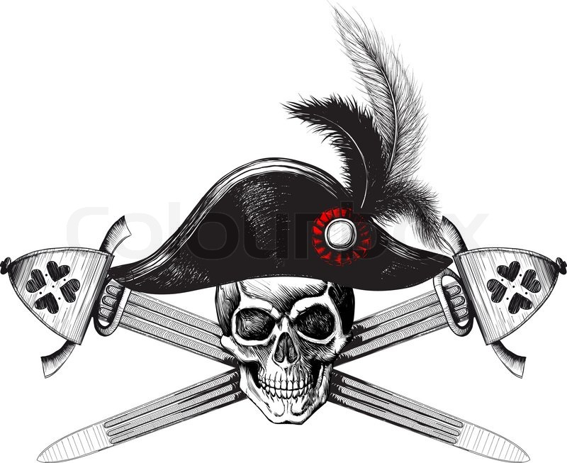 Skull in the captain hat and two crossed swords stock for Crossed swords tattoo