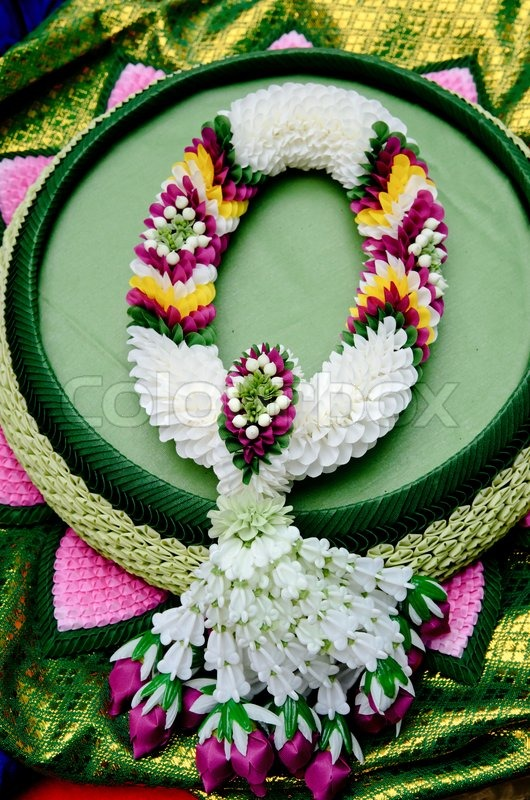 Fabric flower garlands of thai style, stock photo