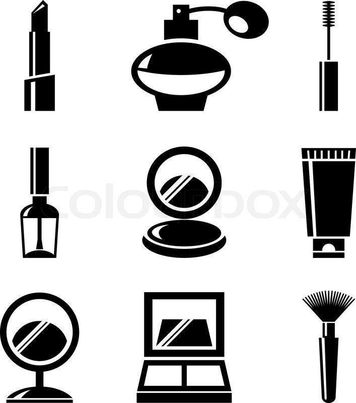 cosmetics icons set stock vector colourbox Cartoon Kissy Lips Kissing Lips Clip Art