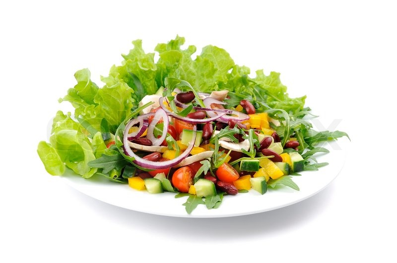 Mixed Salad On A White Plate Isolated Stock Image