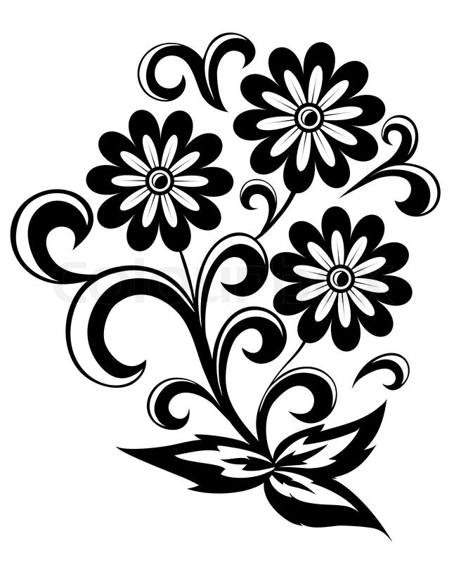 Black and white abstract flower with leaves and swirls ...