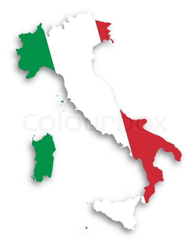 Kort Over Italien Fyldt Med Flag Stock Foto Colourbox