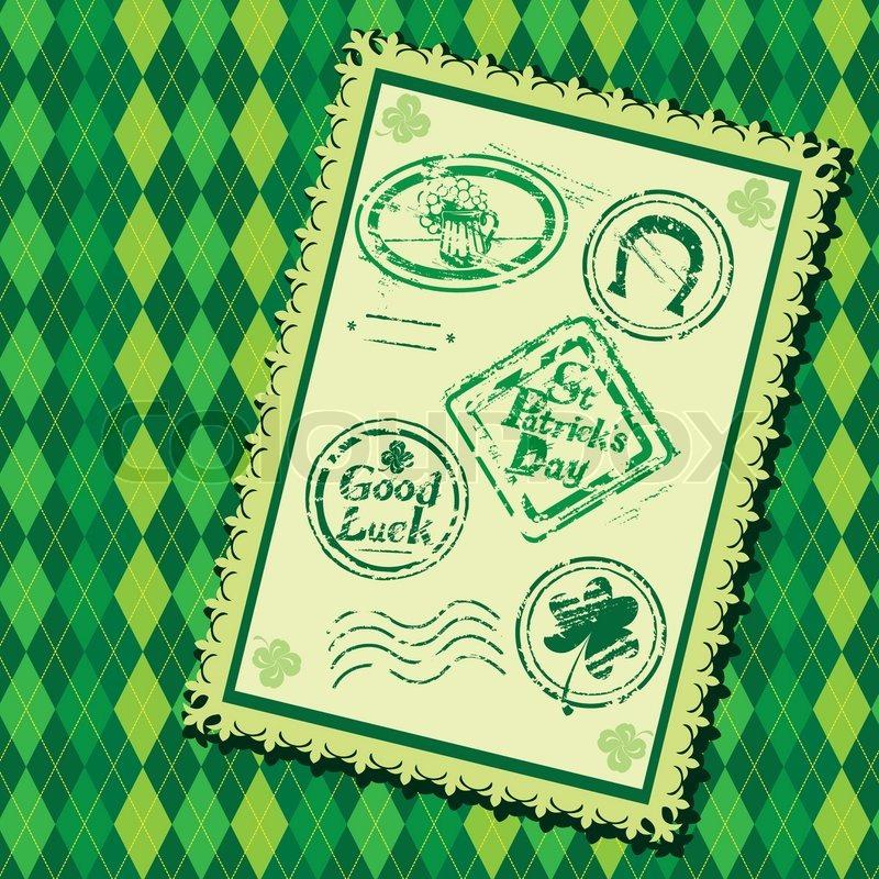 Set of green grunge rubber stamps with beer mug shamrock for Irish mail cart plans