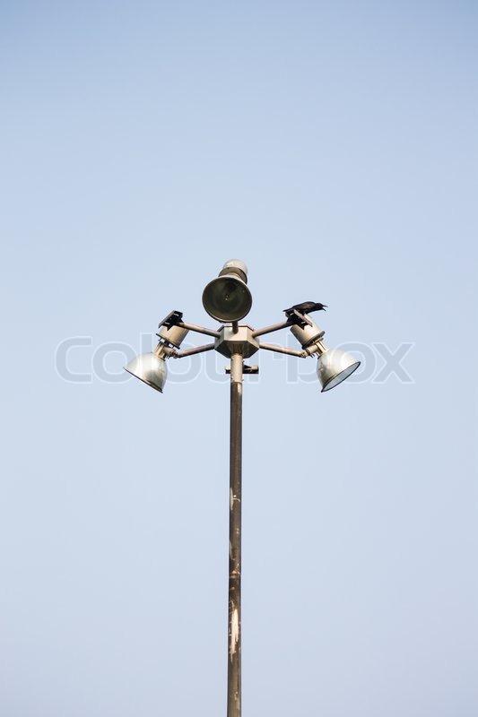 Light pole in the sky, stock photo