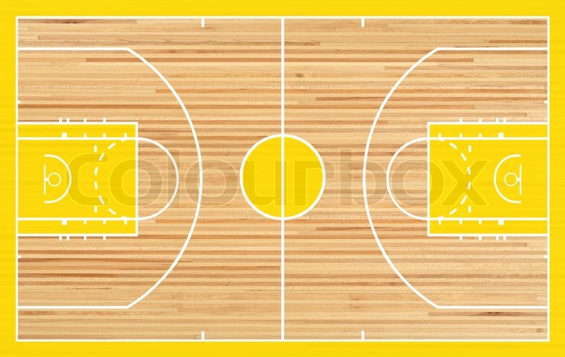 Basketball Court Floor Plan: Basketball Court Floor Plan On Parquet Background