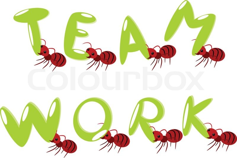 Red ants teamwork illustration | Stock Vector | Colourbox