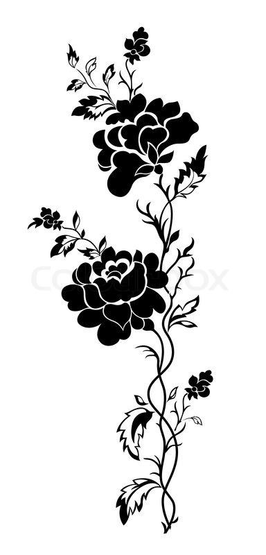 vector blumenmuster eine rose tattooeps vektorgrafik colourbox. Black Bedroom Furniture Sets. Home Design Ideas