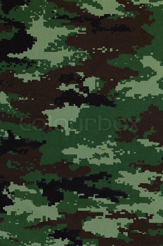 Thai Army Green Woodland Digital Camouflage Fabric Texture Background