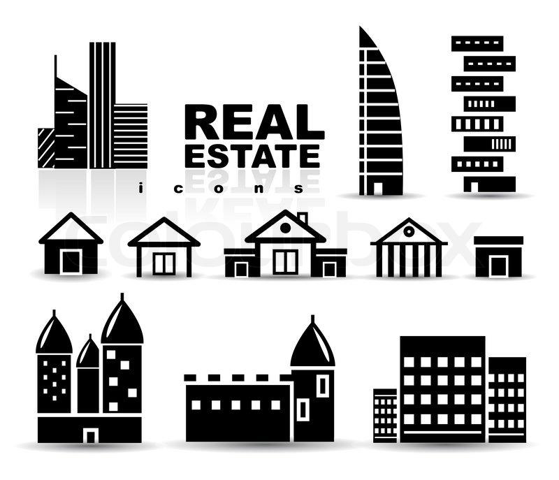 Commercial Property Graphics : Schwarz immobilien häuser gebäude icon set