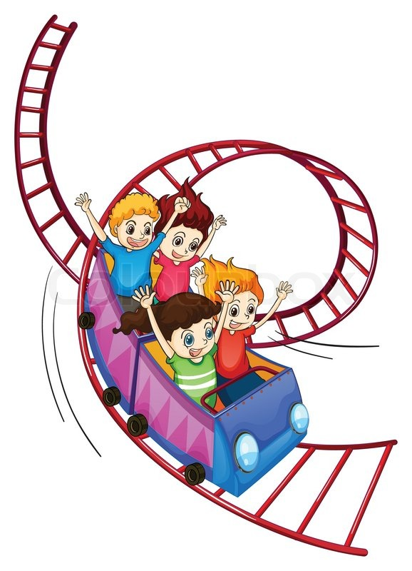 Brave kids riding in a roller coaster ride | Stock Vector ...