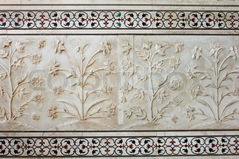 External decoration details of taj mahal india stock for Taj mahal exterior design