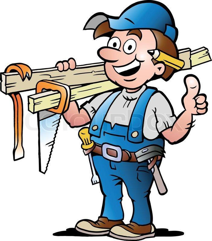 Handwerker clipart kostenlos  Handgezeichnete Vektor-Illustration von einem Schreiner Handwerker ...