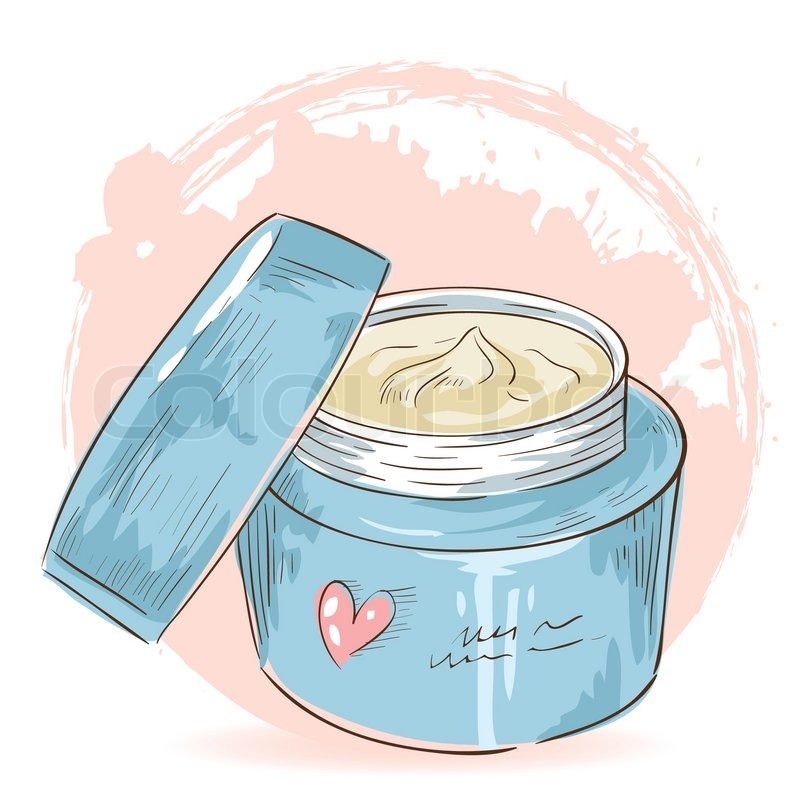 Skincare make-up cream jar isolated card | Stock Vector | Colourbox