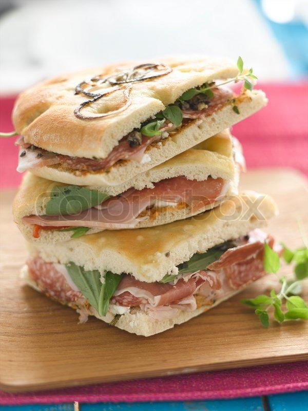 Lækre sandwiches ovenpå hinanden | Stock foto | Colourbox
