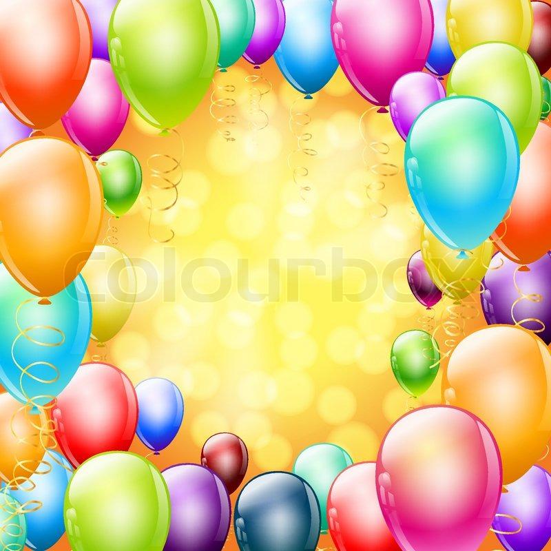 Bunten Luftballons als Rahmen auf Urlaub Hintergrund   Vektorgrafik ...