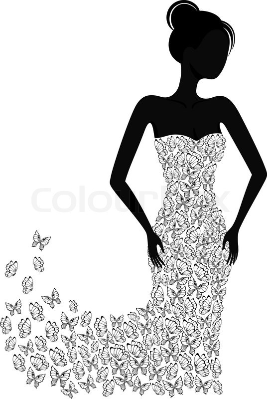 Silhouette Of A Girl In A Flying Apart Dress Stock