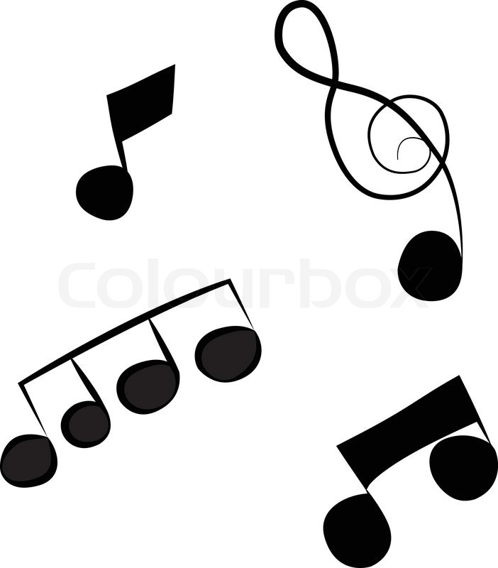 black outline vector music notes on white background stock vector rh colourbox com Music Notes Vector Art Free White Music Note Vector