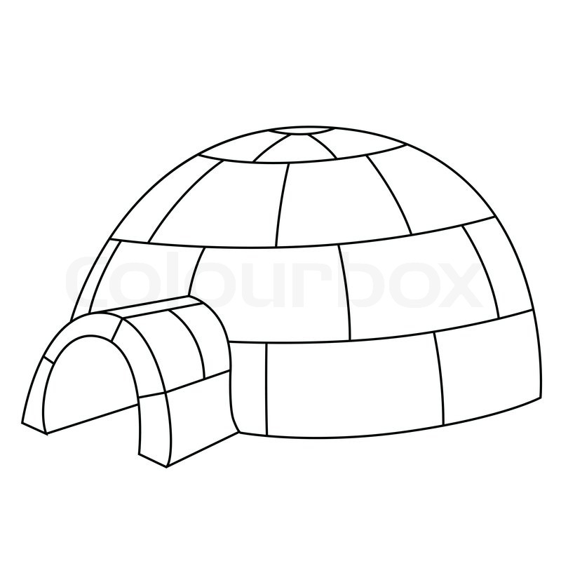 Black outline vector Igloo on white background. | Vector | Colourbox