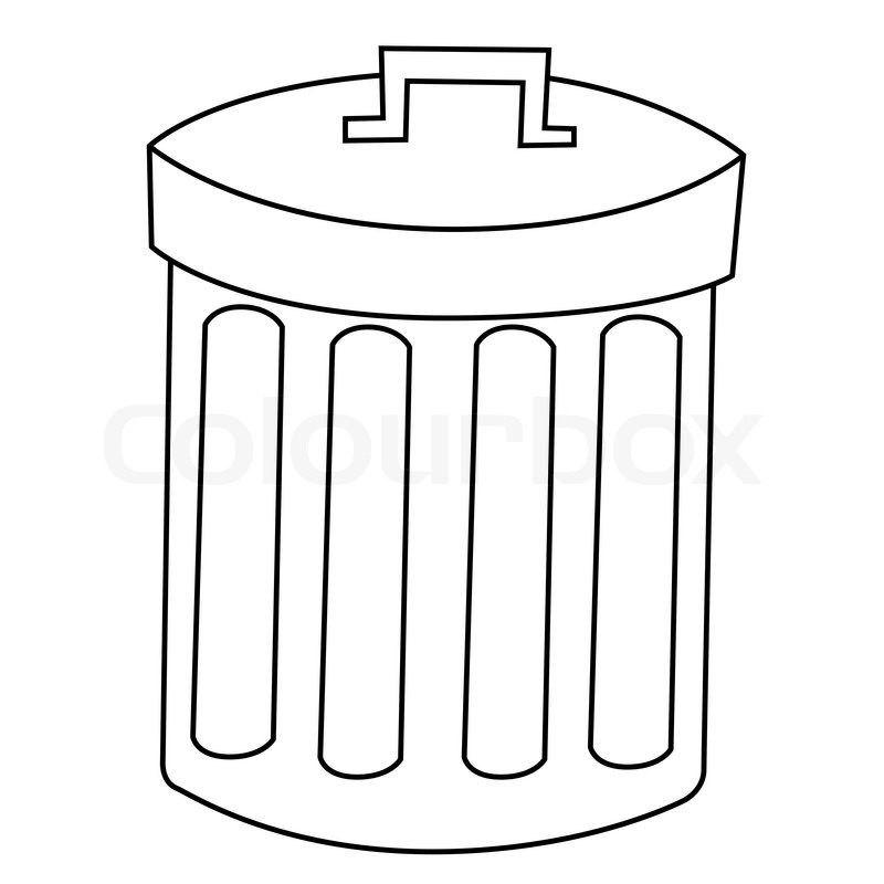 black outline vector recycle bin on white background stock vector