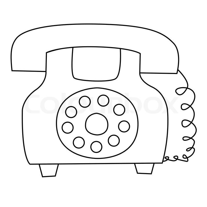 black outline vector telephone on white background