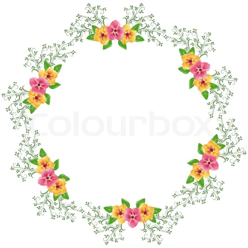 Flowers Round Frame Vector