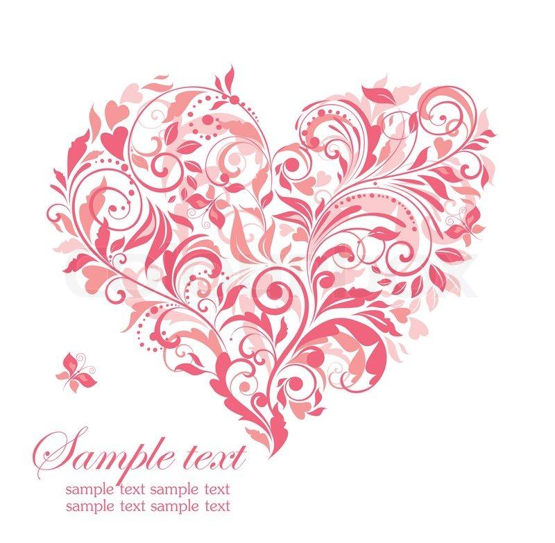 Schöne Grußkarte mit rosa Blumen Herzen | Vektorgrafik | Colourbox