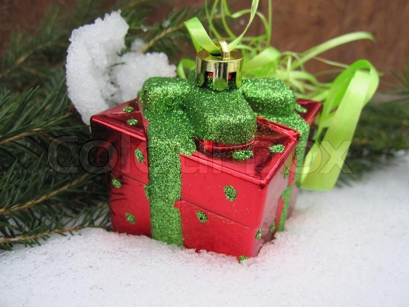 Schnee,geschenk,zweig,tannenzweig,verpackung, christbaumschmuck ...