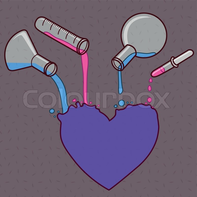 Line Drawing Chemistry : Chemistry of love vector line art illustration as