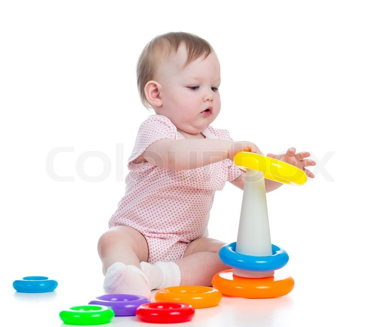 Cute kid girl playing with educational toy isolated on white | Stock ...