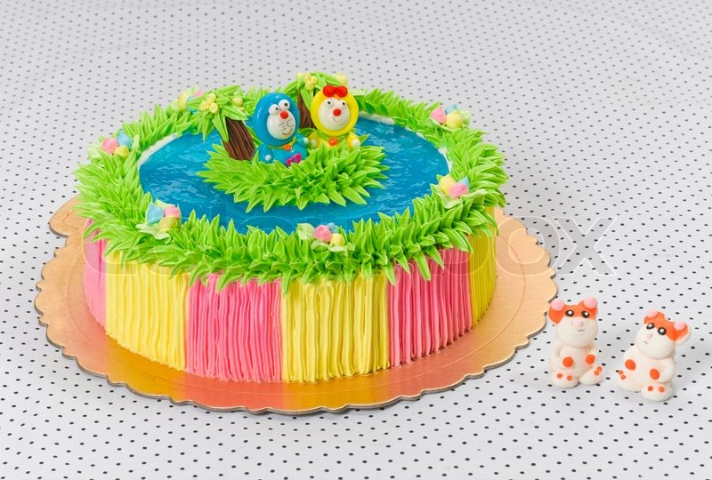Doraemon On The Island Beautiful And Colorful Birthday Cake For