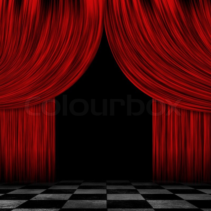 Opened Red Curtains Stock Photo Colourbox