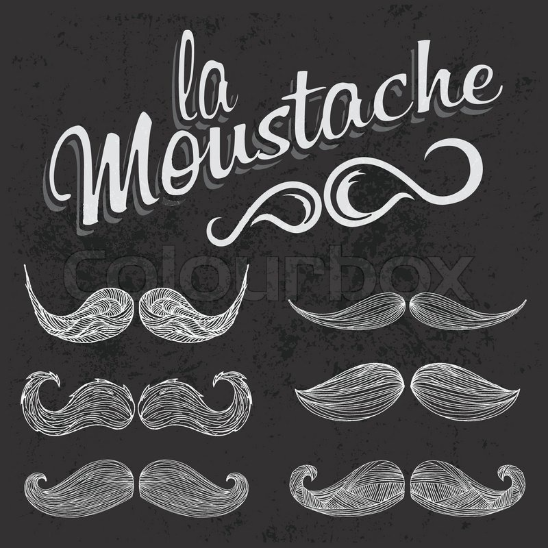 hand drawn white mustache set