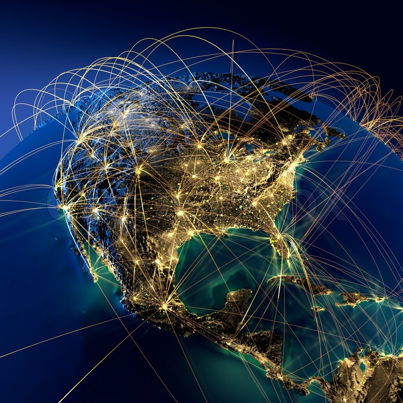 Stock image of 'Main air routes in North America'