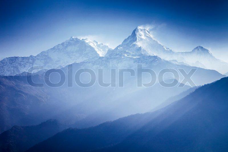 Annapurna mountains in sunrise light, stock photo