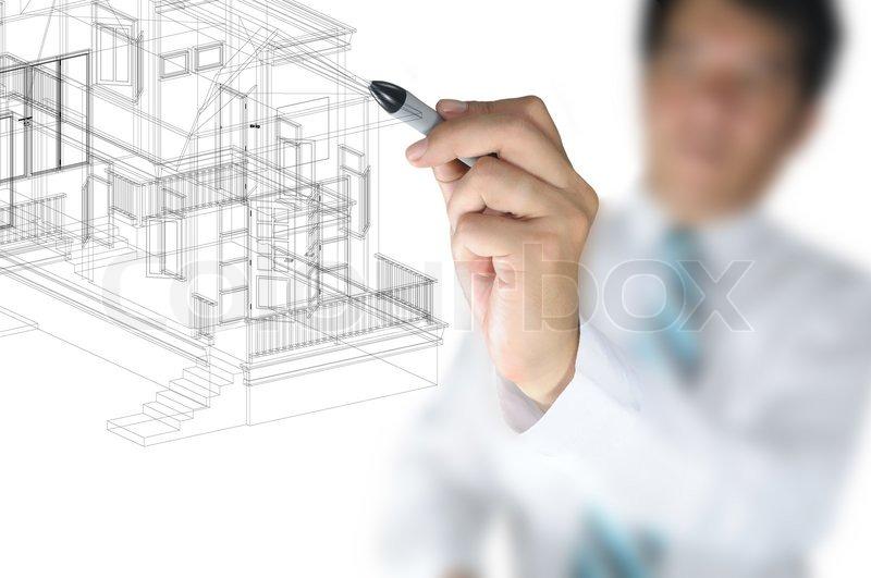 Stock Bild Von Hand Of Business Mann Oder Architect Zeichnen 3D Architektur Haus