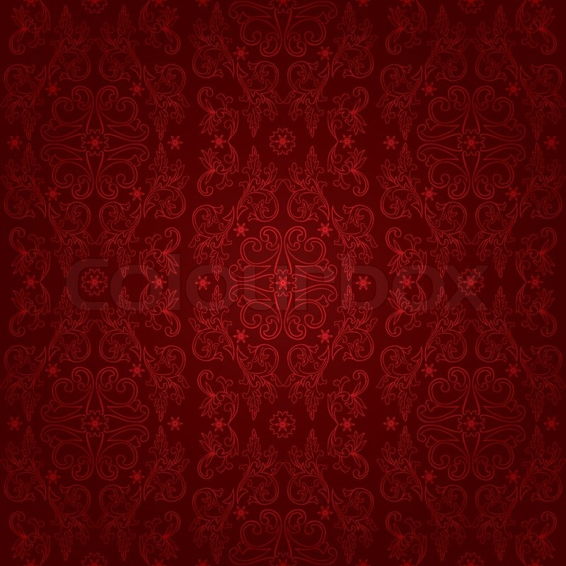 floral vintage seamless pattern on a red background