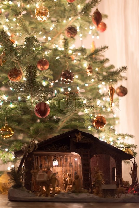 Beautifully Decorated Christmas Tree With Large Wooden