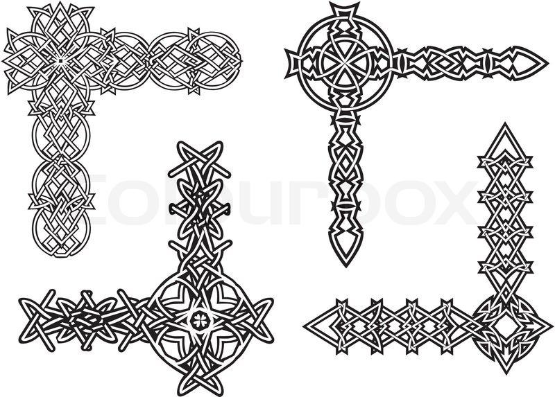 celtic decorative knot corners stock vector colourbox rh colourbox com