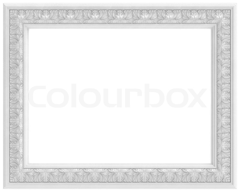 Rectangular White Carved Frame For A Stock Photo