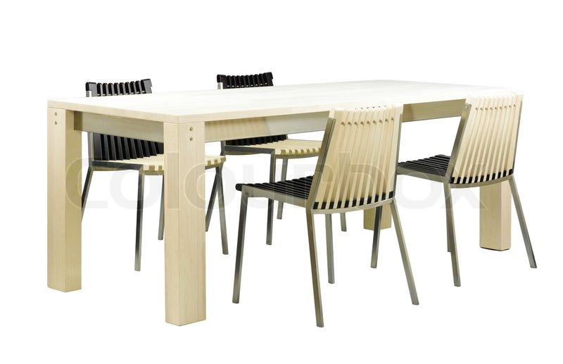 Smukke spisebord møbler og stole sat i elfenben farve isoleret ...