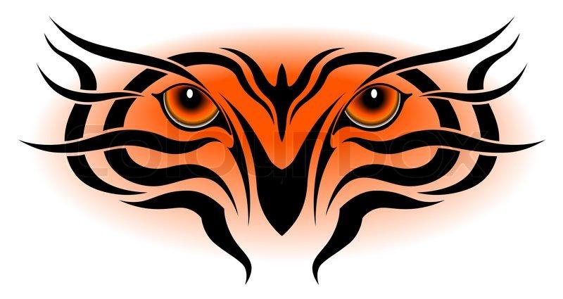 Tiger eyes, tribal tattoo   Stock Vector   Colourbox